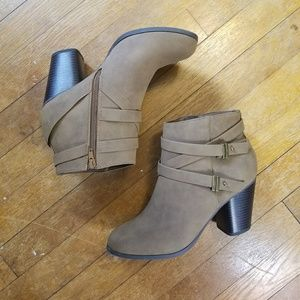 Light Brown Belted Ankle Booties